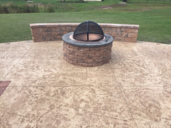Stamped Concrete Patio w/ Firepit & Seating Wall