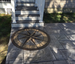 Stamped Concrete Patio w/ Compass