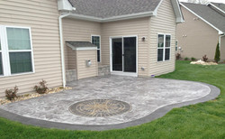 Stamped Concrete Patio w/ Border & Compass