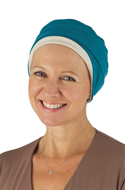 Kim Reversible Soft Chemo Hat in Teal & Stone