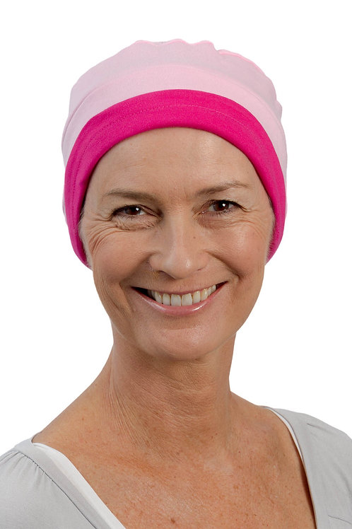 Kim Reversible Soft Chemo Hat in Cerise & Pink