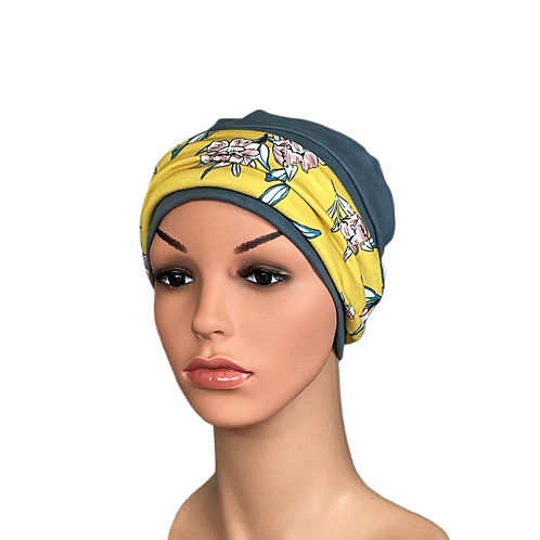 Lucy Chemo Hat With Removable Yellow Floral Headband
