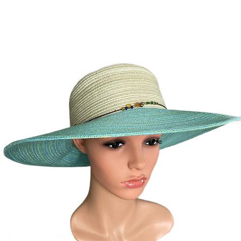 Gina Wide Brimmed Sun Hat Aqua & Cream