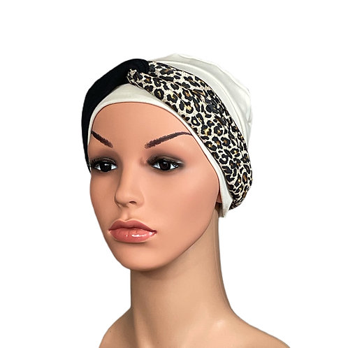 Lucy Chemo Hat With Removable Animal Print Headband