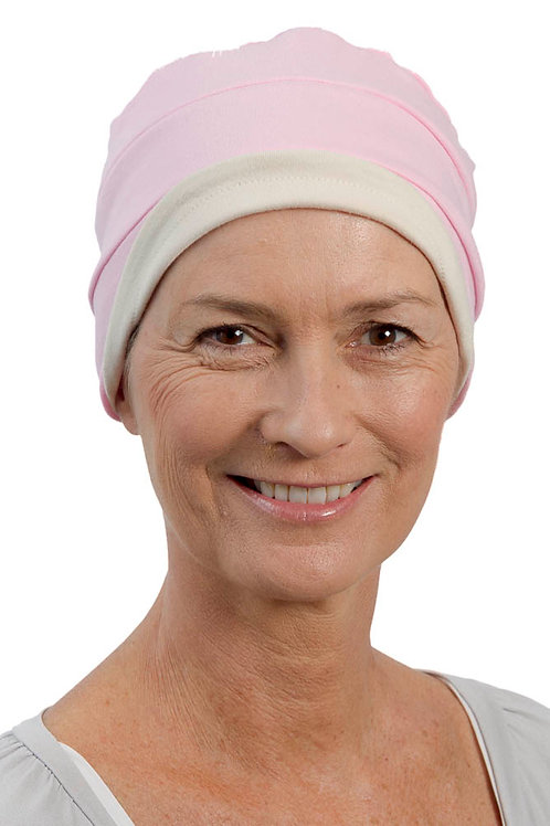 Kim Reversible Soft Chemo Hat in Pink & Stone