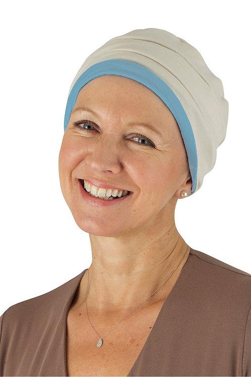 Kim Reversible Soft Chemo Hat in Sky & Cream