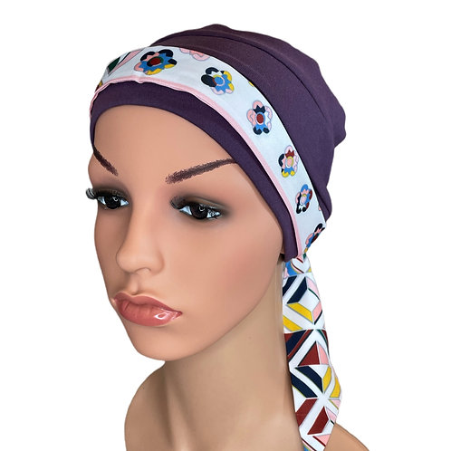 Lucy Chemo Hat With Pink Geo Head Scarf