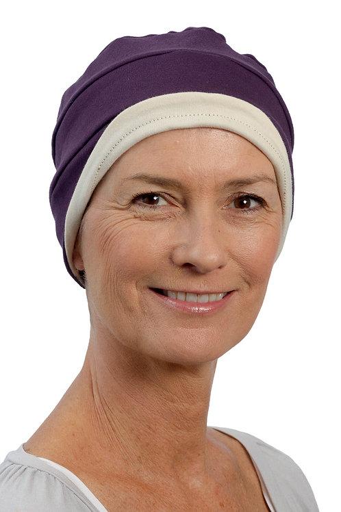 Kim Reversible Soft Chemo Hat in Plum & Stone