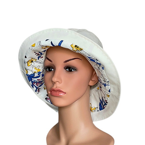 Corrine Reversible Sun Hat White & Blue