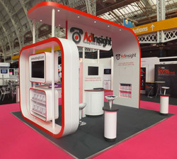 Red and white exhibition stand