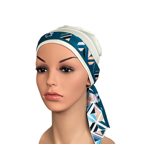 Lucy Chemo Hat With Teal Geo Head Scarf