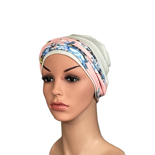 Lucy Chemo Hat With Removable Coral Floral Headband
