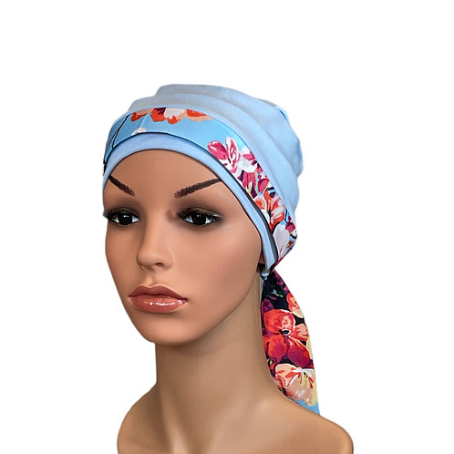 Lucy Chemo Hat With Blue Floral Head Scarf