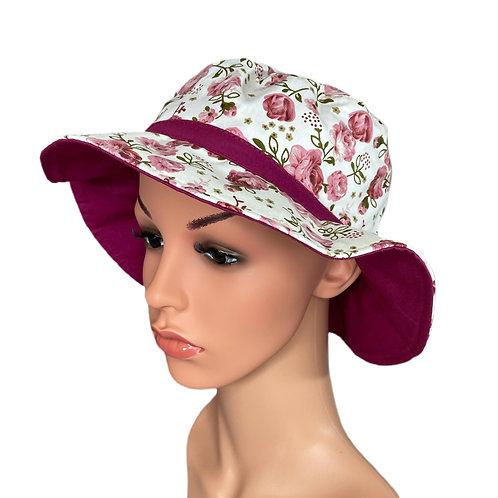 Josie Floral Print Sun Hat Pink and Cerise