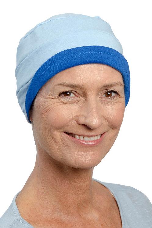 Kim Reversible Soft Chemo Hat in Kingfisher & Sky Blue