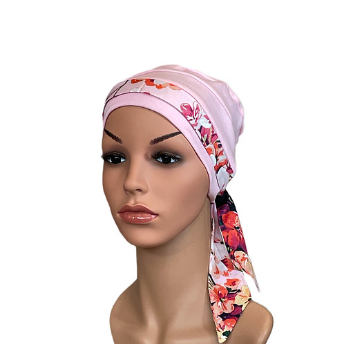 Lucy Chemo Hat With Pink Floral Head Scarf