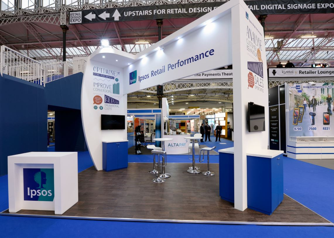 Blue and White exhibition stand