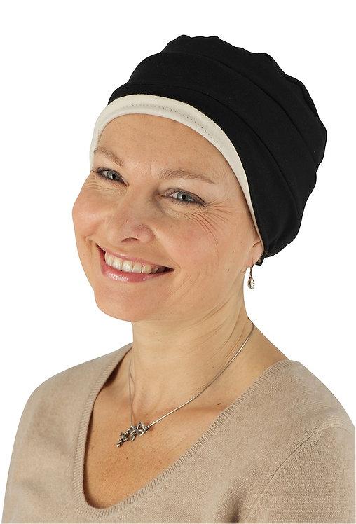 Kim Reversible Soft Chemo Hat in Black & Stone