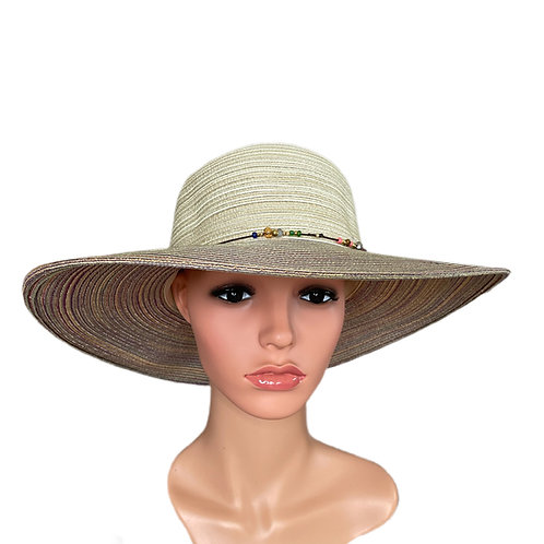 Gina Wide Brimmed Sun Hat Pink and Cream