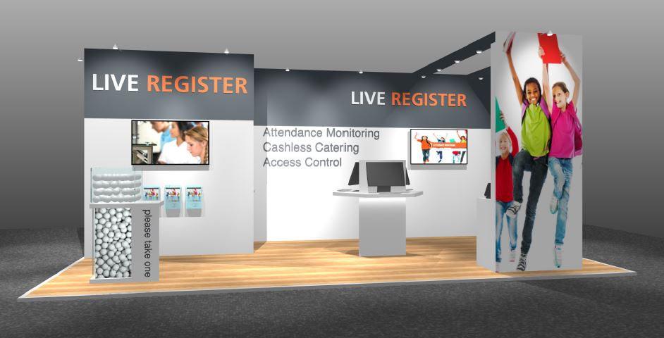 Live Register small exhibition stand design