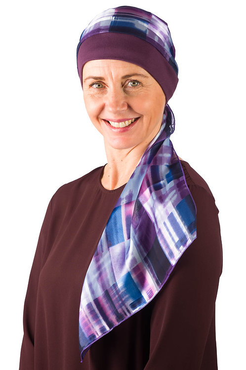 Grace Plum Hat With Pattered Chemo Head Scarf