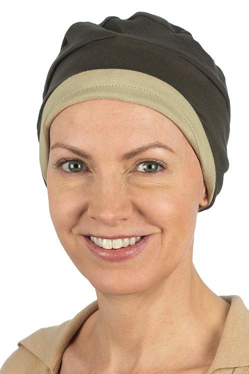 Kim Reversible Soft Chemo Hat in Mocha & Camel