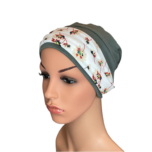 Lucy Chemo Hat With Removable Cream Floral Headband