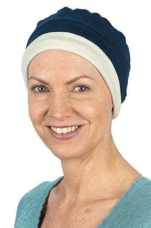 Kim Reversible Soft Chemo Hat in Navy & Stone
