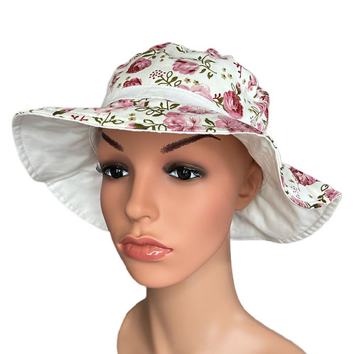 Josie Floral Print Sun Hat Pink and White