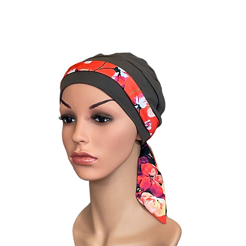 Lucy Chemo Hat With Coral Floral Head Scarf
