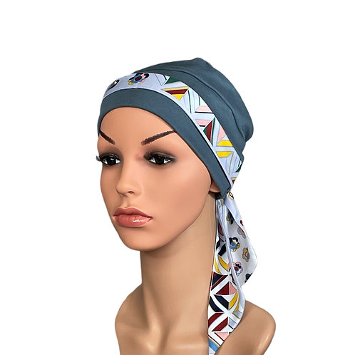 Lucy Chemo Hat With Silver Geo Head Scarf