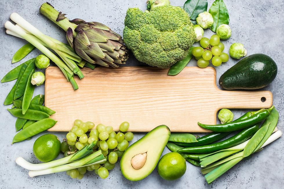 Variety of green vegetables and fruits c