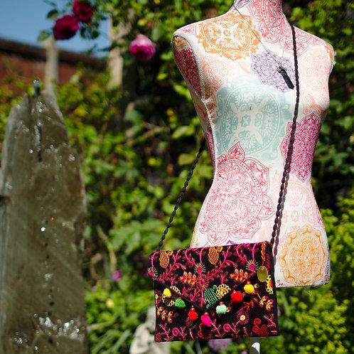 Embroidered Pom Pom Trim Bag