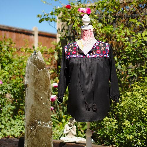 Boho Gypsy Top Black Pattern 2 Size M