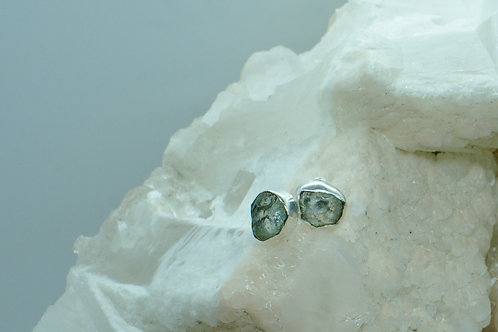 Raw Aquamarine Sterling Silver Stud Earrings AQA