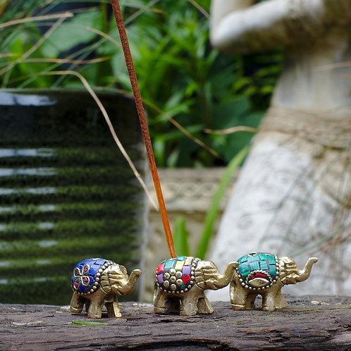 Small Brass Nepali Elephant Incense Holder