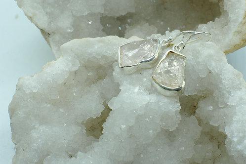 Raw Morganite Sterling Silver Drop Earrings MB