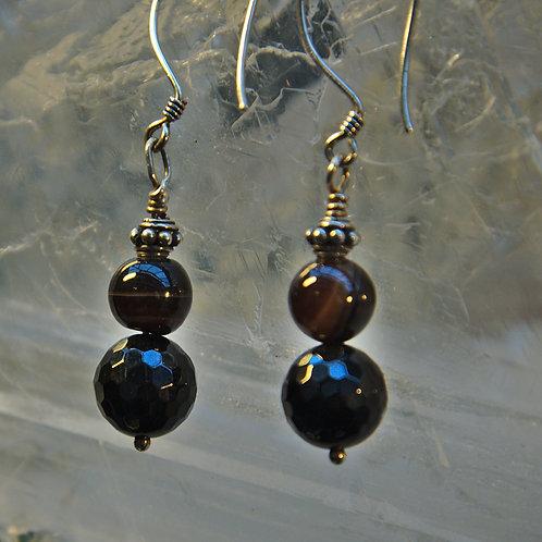 Black Onyx & Banded Agate Sterling silver Drop Earrings