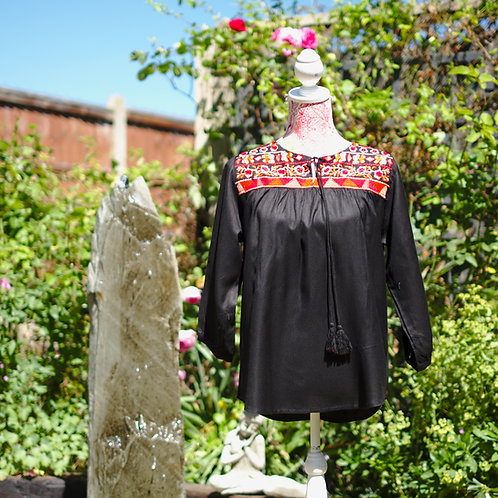 Boho Gypsy Top Black Pattern 3 Size L