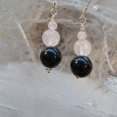 Black Onyx & Rose Quartz Sterling Silver Drop Earrings