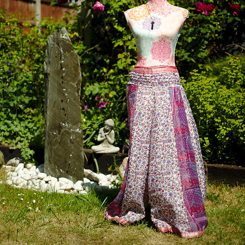 Recycled Sari Silk Umbrella Trousers Pink Ditsy