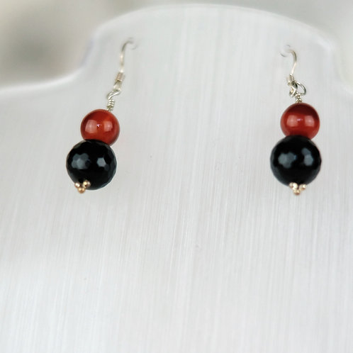 Faceted Onyx and Carnelian Earrings