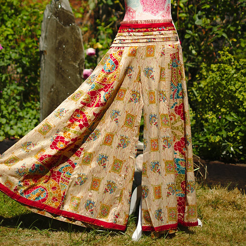 Recycled Sari Silk Umbrella Trousers Gold Mosaic