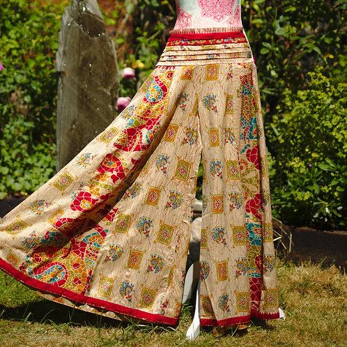 Recycled Sari Silk Umbrella Trousers Gold Mosaic
