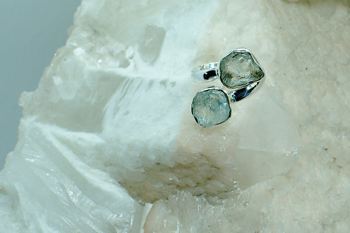 Raw Aquamarine Sterling Silver Adjustable Ring Size 7