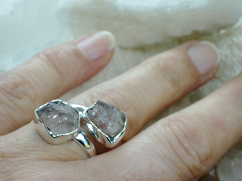 Raw Morganite Sterling Silver Adjustable Ring Size 7