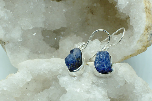 Raw Tanzanite Sterling Silver Drop Earrings TAB