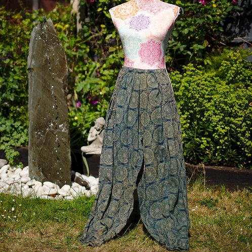 Block Print Vegetable Dye Ali Baba Trousers Green/Blue