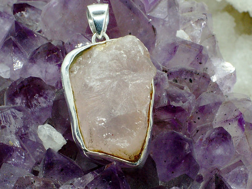 Chunky Rough Rose Quartz Sterling Silver Pendant