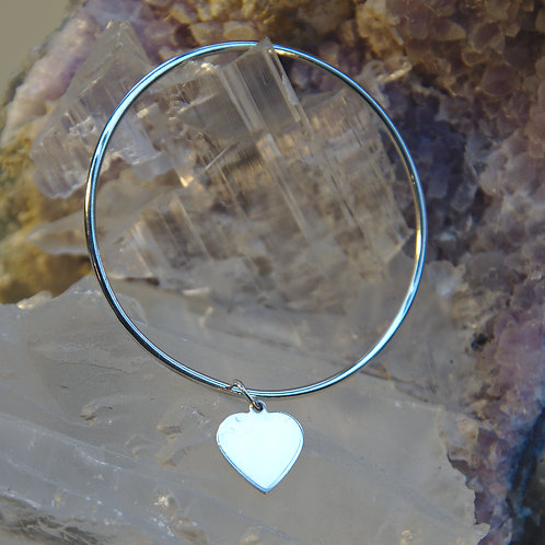 Heavy Sterling Silver Heart Bangle